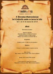 Menú Jornadas Gastronómicas del Cochinillo en el Asador del Rey